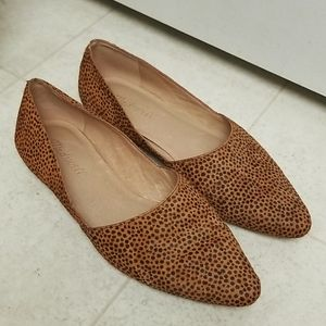 MADEWELL animal print calf hair slip on shoes flat